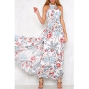 Halter Floral Printed Sleeveless Hollow Out Back Maxi A-Line Dress