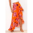 Holiday Floral Printed Ruffle Detail Maxi Asymmetric Hem Skirt