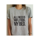 ALL I NEED IS WIFI Letter Printed Round Neck Short Sleeve Tee