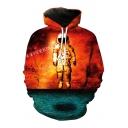 Color Block Astronaut Printed Long Sleeve Hoodie