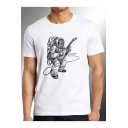 Astronaut Guitar Printed Round Neck Short Sleeve Tee