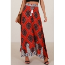 Peasant Tassel Drawstring High Waist Button Detail Slit Side Tribal Print Maxi Skirt