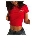 Unique Coke Letter Cherry Embroidered Crew Neck Short Sleeves Cropped T-shirt