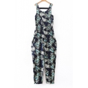 Loose Floral Printed Round Neck Sleeveless Hollow Out Back Elastic Waist Jumpsuit
