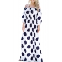 Retro Polka Dot Print Off the Shoulder Maxi A-line Summer Dress