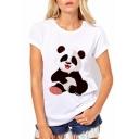 Cute Cartoon Panda Printed Round Neck Short Sleeve Slim Tee