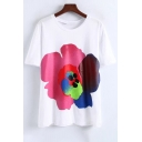 Trendy Floral Print Round Neck Short Sleeves Casual Tee