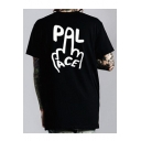 Cool Finger Hand Letter PAL ACE Print Round Neck Short Sleeves Summer T-shirt