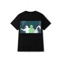 Funny Cat Alien Flamingo Print Round Neck Short Sleeves Leisure T-shirt