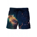 Galaxy Cat Printed Drawstring Waist Loose Leisure Shorts