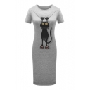 Lovely Cat Printed Round Neck Short Sleeve Slim Midi T-Shirt Dress