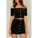 Chic Buttons Down Off The Shoulder Short Sleeve Crop Top with Mini A-Line Skirt Co-ords