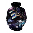 Digital Cartoon Printed Leisure Long Sleeve Hoodie with Pocket