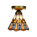 6-Inch Wide Mini Flush Mount Ceiling Light with Peacock Tail Pattern and Tiffany Stained Glass Shade, Multicolored