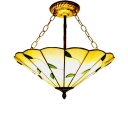 16/19-Inch Wide Conical Shade Tiffany Art Glass Inverted Pendant Light with Leaves Decorated, Antique Brass Finish