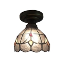 Baroque Simple Semi-Flush Ceiling Fixture with Tulip Pattern Clear Glass Shade in Tiffany Style