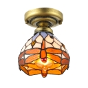 Colorful Dragonfly Tiffany Down Lighting Semi-Flush Ceiling Fixture with 6