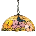 Butterfly and Floral Hanging Lamp with Tiffany-Style Multicolored Dome Glass Shade, 16