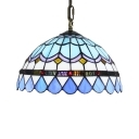 Baroque Classic Design 2 Light   Ceiling Light with Blue Dome Glass Shade in Tiffany Style, 12