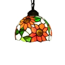 Dome Pendant Light with Sunflower Pattern Glass Shade in Tiffany Style, 8