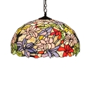 Various Flowers Tiffany 2-Light Ceiling Light with Dome Glass Shade in Colorful Finish, 20-Inch Wide