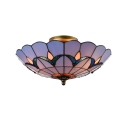 Tulip Pattern Tiffany Flush Mount Ceiling Fixture with Stained Glass Shade in Blue, 16