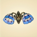 Tiffany Double Light Wall Sconce in Mediterranean Style Mermaid with White and Blue Color Glass Shade