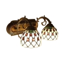 Dome Shaped Tiffany Double Light Wall Lamp Down Lighting with Glass Shade in 16