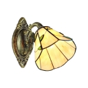 1 Light Wall Sconce with 6''W Leaf Pattern Glass Shade in Amber Finish