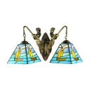 Classic Art Tiffany Mermaid Sailboat 2 Light Wall Lamp in Pyramid Shaped, 14-Inch Wide