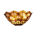 Tiffany-Style Victorian Design Stained Glass Shade Up Lighting Wall Lamp, 12