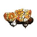 Vintage Tiffany Style Stained Glass Sunflowers Wall Sconce,19