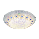 Brightly Hued Mosaic Shade Tiffany Style Single Light Flush Mount Ceiling Fixture with Shell Decor