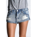 High Waist Hot Pants Ripped Zipper Fly Denim Shorts