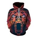 Digital Lion Printed Long Sleeve Hoodie