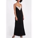 Women's Fashion Spaghetti Straps Lace Insert V-Back Loose Maxi Cami Summer Dress
