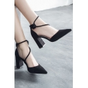 Top Design Strappy Detail Ankle Tied High Block Heel Pointed Shoes