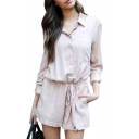 Lady Plain Lapel Collar Long Sleeve Drawstring Waist Loose Romper with Pockets