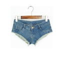 Sexy Plain Fringe Hem Zipper Fly Hot Pants Denim Shorts with Pockets