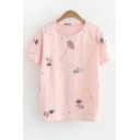Fashionable Cactus Cartoon Print Round Neck Short Sleeves Summer T-shirt