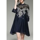 Lace Insert Leaf Pattern Embroidered Round Neck 3/4 Length Sleeve Mini A-Line Dress