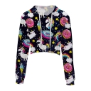 Chic Cartoon Unicorn Doughnut Printed Long Sleeve Crop Hoodie
