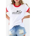 Fancy Letter MOTHER OF DRAGONS Graphic Print Contrast Trim Round Neck Summer Tee