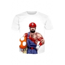 Cool Cartoon Game Mushroom Print Round Neck Short Sleeves Casual Tee