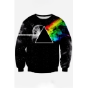 3D Triangle Printed Long Sleeve Leisure Round Neck Pullover Sweatshirt