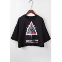 Triangle Eye Letter Printed Round Neck Short Sleeve Crop Tee