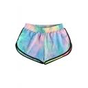 Colorful Printed Elastic Waist Leisure Loose Comfort Shorts