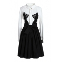 Color Block Cat Embroidered Lapel Collar Long Sleeve Midi A-Line Dress