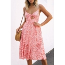 Retro Floral Printed Hollow Out Spaghetti Straps Sleeveless Midi Cami Dress