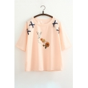 Fancy Lace-up Detail Rabbit Floral Pattern Round Neck Half Sleeves Leisure Tee